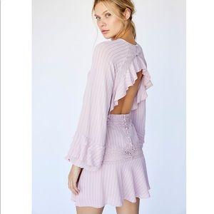 Free People Sweet Ruffle Pinstripe Lace Mini Dress